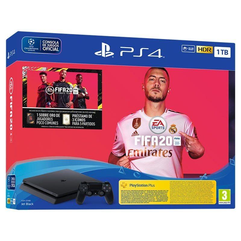 CONSOLA SONY PS4 SLIM 1TB + FIFA20 + FUTVCH 1xSOBRE ORO + 3 ICONOS DE 5 PARTIDOS + PS 14 DÍAS